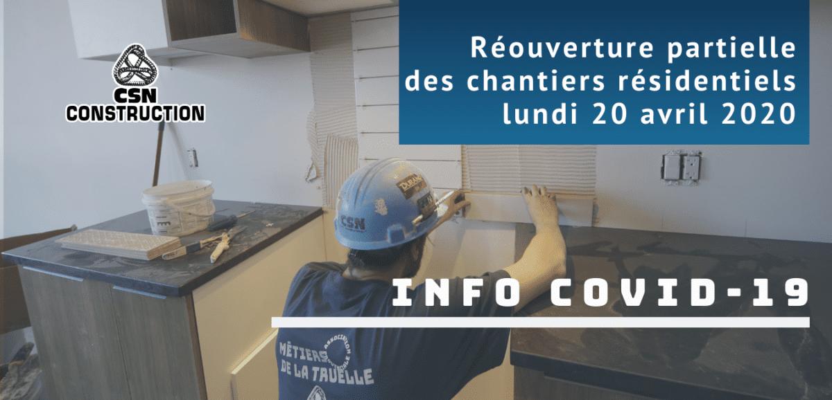 COVID-19: La CSN-Construction n'est pas surprise de l'annonce du gouvernement de rouvrir certains chantiers résidentiels.