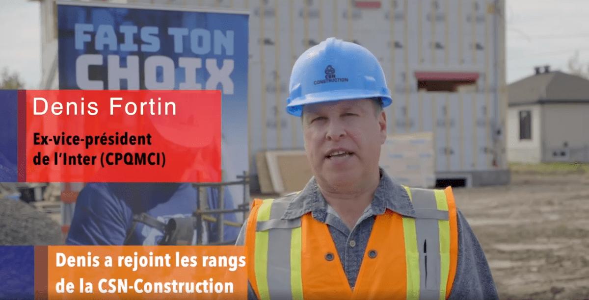 La CSN-Construction est heureuse d'accueillir dans ses rangs Denis Fortin, ancien vice-président (officier) du CPQMCI.
